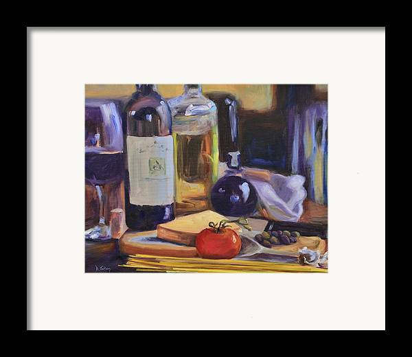 Italy Framed Print featuring the painting Italian Kitchen by Donna Tuten