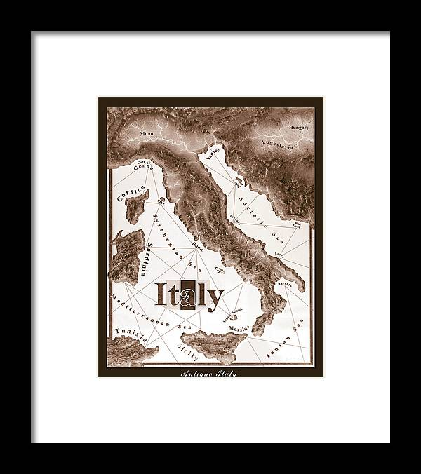 Italian Framed Print featuring the mixed media Italian Map by Curtiss Shaffer