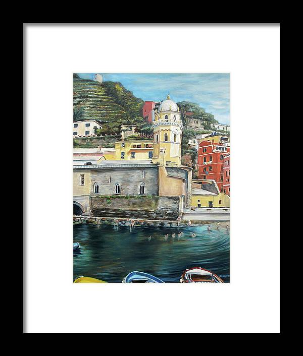 Cinque Terre Framed Print featuring the painting Italian Riviera - Cinque Terre Colors by Jennifer Lycke