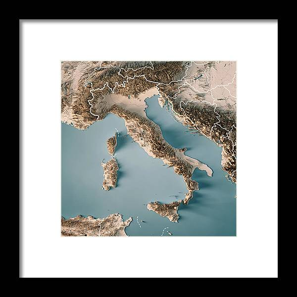 Topographic Map Italy.Italy Country 3d Render Topographic Map Neutral Border Framed Print