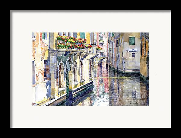Watercolor Framed Print featuring the painting Italy Venice Midday by Yuriy Shevchuk