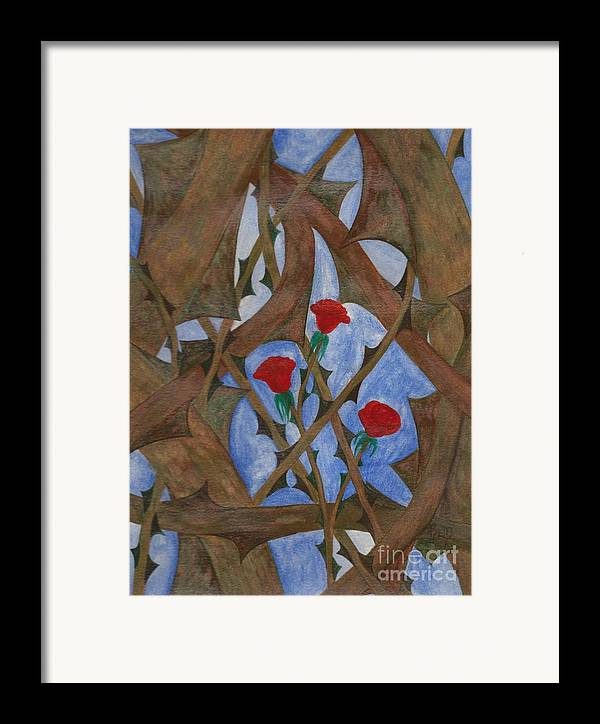 Roses Framed Print featuring the painting It's Complicated by Robert Meszaros