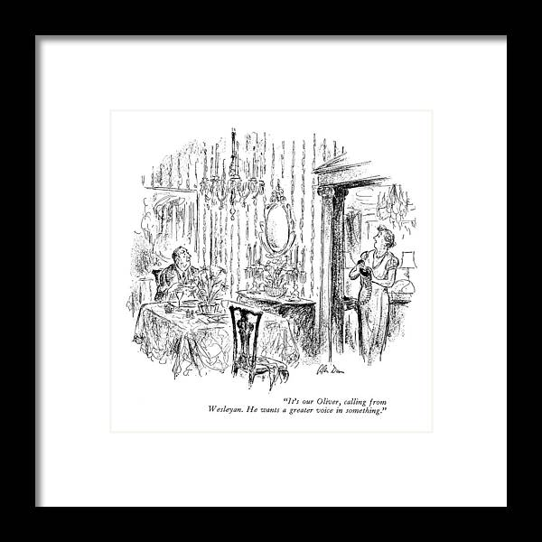 83818 Adu Alan Dunn (wife Framed Print featuring the drawing It's Our Oliver by Alan Dunn