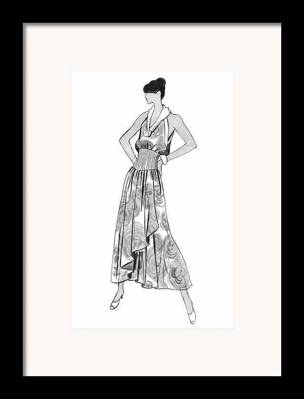 Fashion Illustration Framed Print featuring the drawing It's Sarong It's Right by Sarah Parks