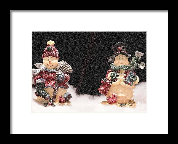 Season Framed Print featuring the photograph It's Snowing by Sandra Clark