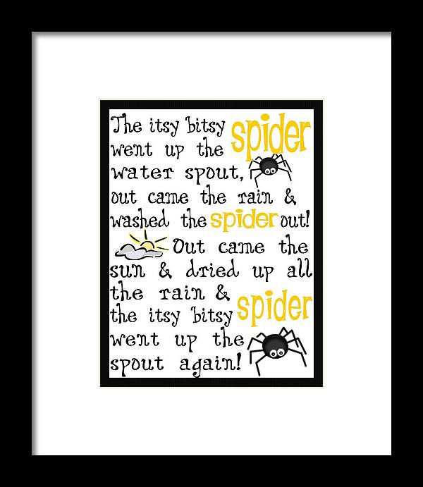 Itsy Bitsy Spider Framed Print featuring the digital art Itsy Bitsy Spider by Jaime Friedman
