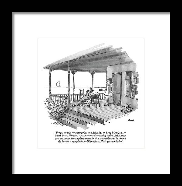 Marriage Framed Print featuring the drawing I've Got An Idea For A Story: Gus And Ethel Live by George Booth