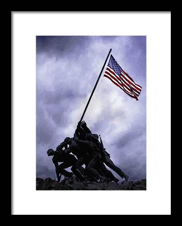Battle Of Iwo Jima Framed Print featuring the painting Iwo Jima Memorial by Bob and Nadine Johnston