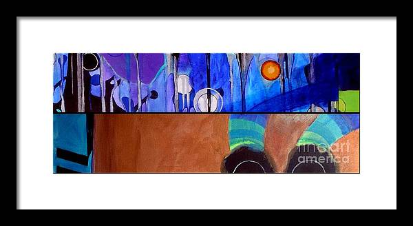 Diptych Framed Print featuring the painting j HOT 12 by Marlene Burns