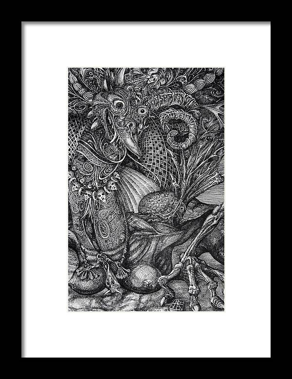 Surrealism Framed Print featuring the drawing Jabberwocky by Otto Rapp
