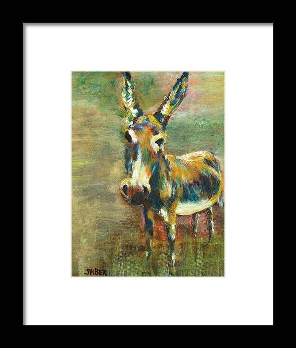 Donkey Framed Print featuring the painting Jack Asked by Kathy Stiber