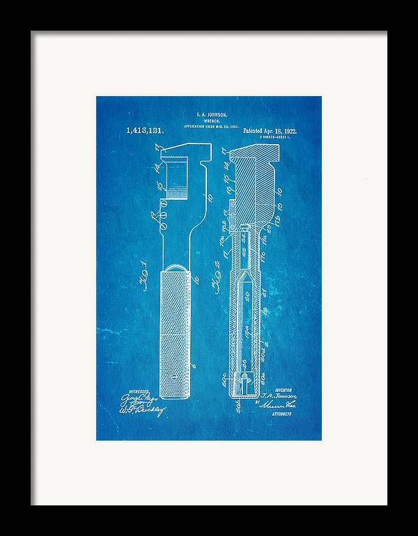 Engineer Framed Print featuring the photograph Jack Johnson Wrench Patent Art 1922 Blueprint by Ian Monk