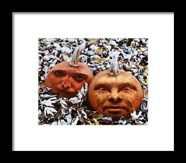 Pumpkin Framed Print featuring the photograph Jack N Jill O'lantern by Gene Tatroe