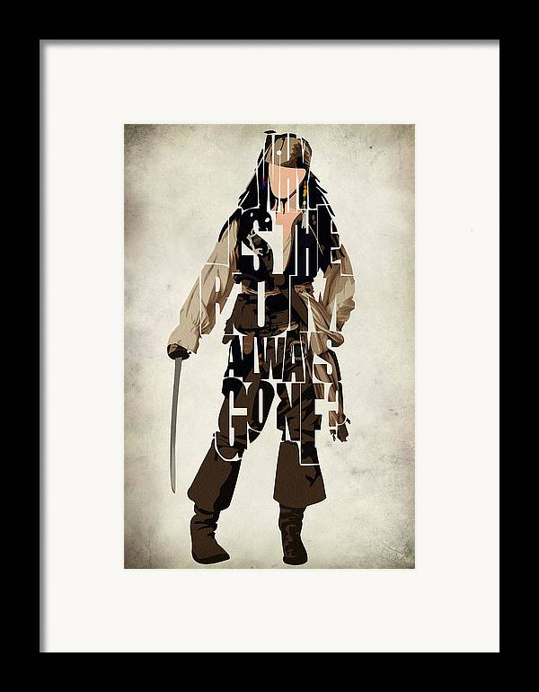 Jack Sparrow Framed Print featuring the painting Jack Sparrow Inspired Pirates Of The Caribbean Typographic Poster by Ayse Deniz