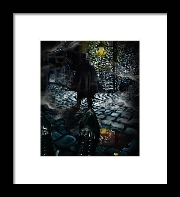 Top Hat Framed Print featuring the digital art Jack The Ripper by Alessandro Della Pietra