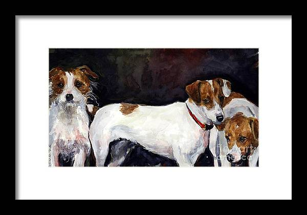 Jack Russell Terriers Framed Print featuring the painting Jack Trio by Molly Poole