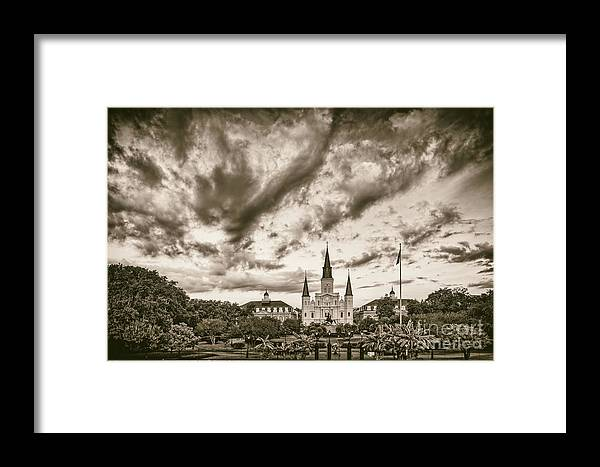 Jackson Framed Print featuring the photograph Jackson Square And St. Louis Cathedral In Black And White - New Orleans Louisiana by Silvio Ligutti