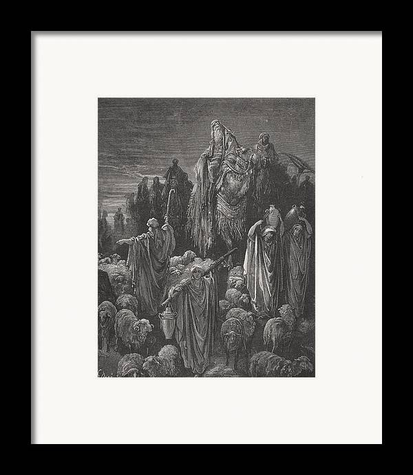 Famine Framed Print featuring the painting Jacob Goeth Into Egypt by Gustave Dore