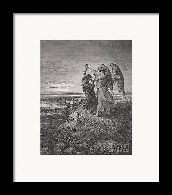 Wrestle Framed Print featuring the painting Jacob Wrestling With The Angel by Gustave Dore