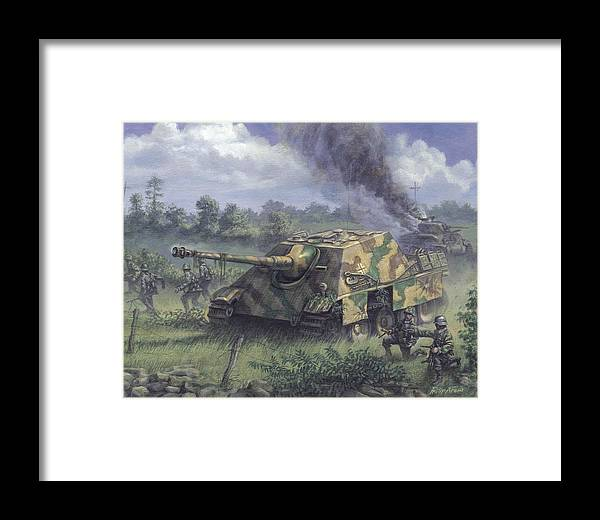 Armor Framed Print featuring the painting Jagdpanther In Normandy 1944 by Philip Arena