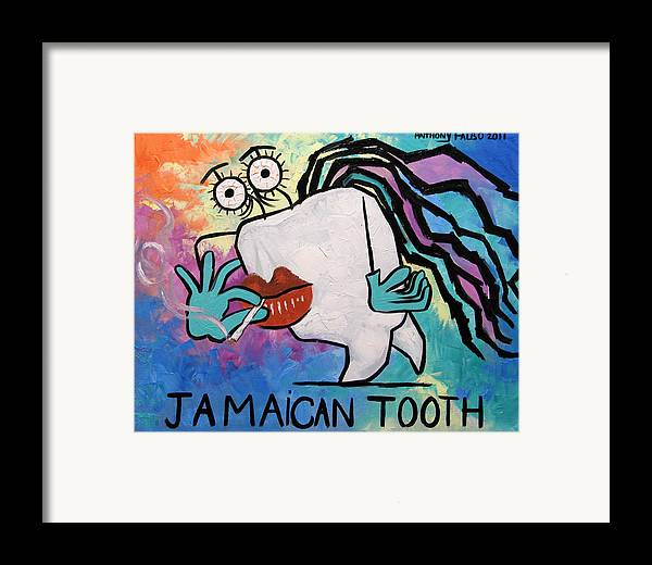 Jamaican Tooth Framed Print featuring the painting Jamaican Tooth by Anthony Falbo