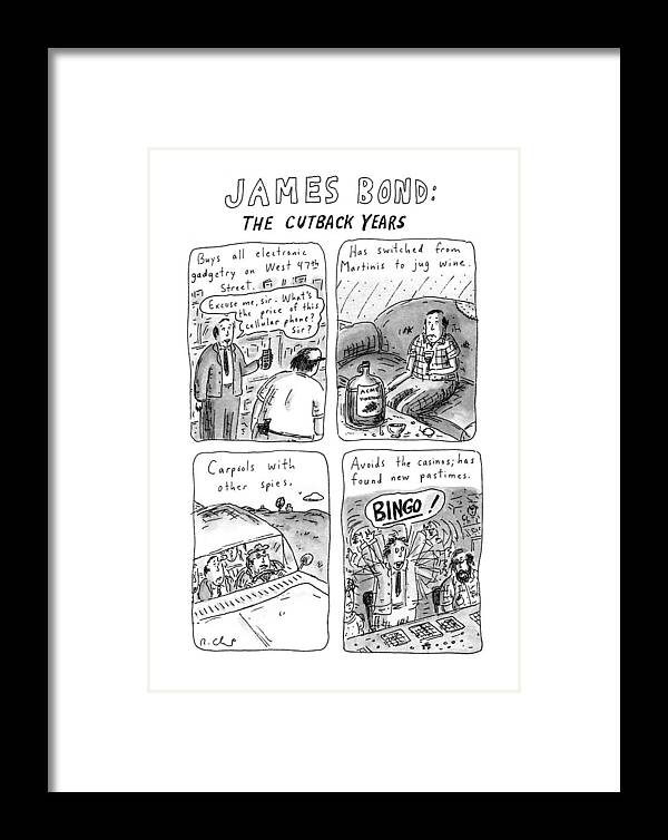 James Bond: The Cutback Years Framed Print by Roz Chast