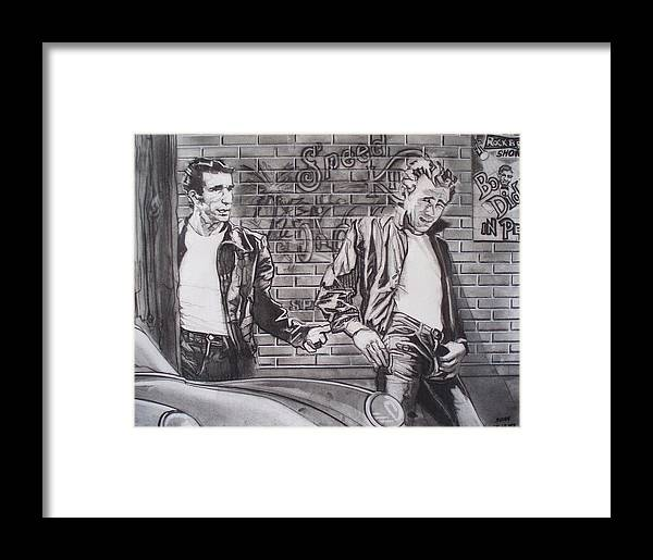 Americana Framed Print featuring the drawing James Dean Meets The Fonz by Sean Connolly