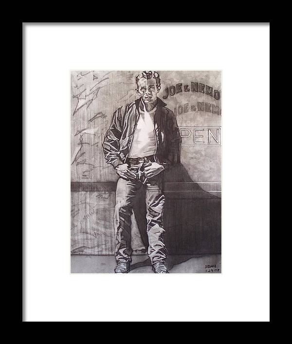 Charcoal; Icon;americana;cool;window;sidewalk;street;rock And Roll;jeans;t-shirt;diner;movie Star Framed Print featuring the drawing James Dean by Sean Connolly