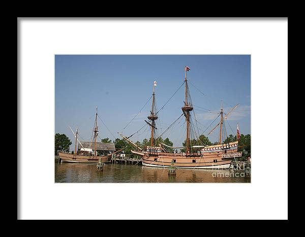 Ship Framed Print featuring the photograph Jamestown Historic Sailingships by Christiane Schulze Art And Photography