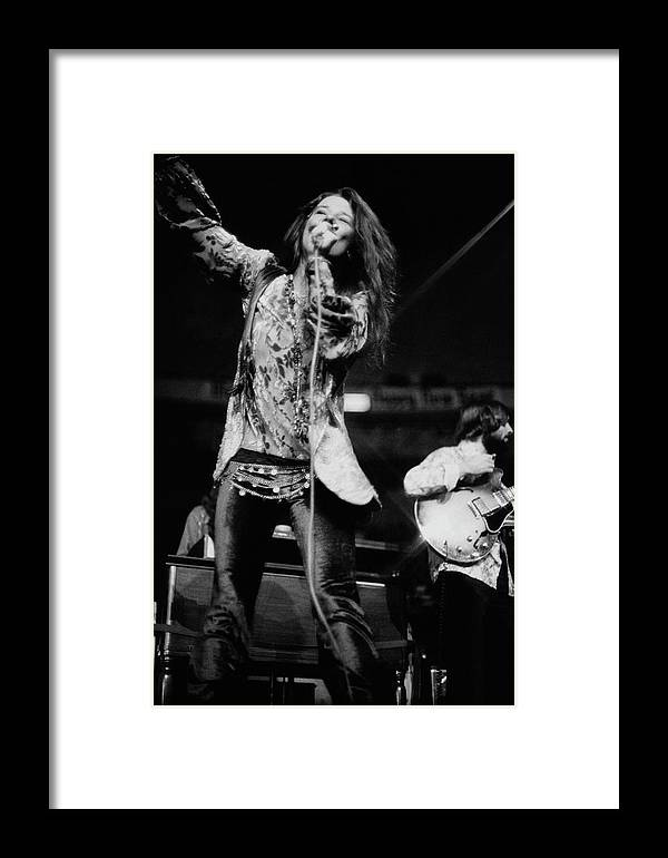Music Framed Print featuring the photograph Janis Joplin On Stage by Charles Tracy