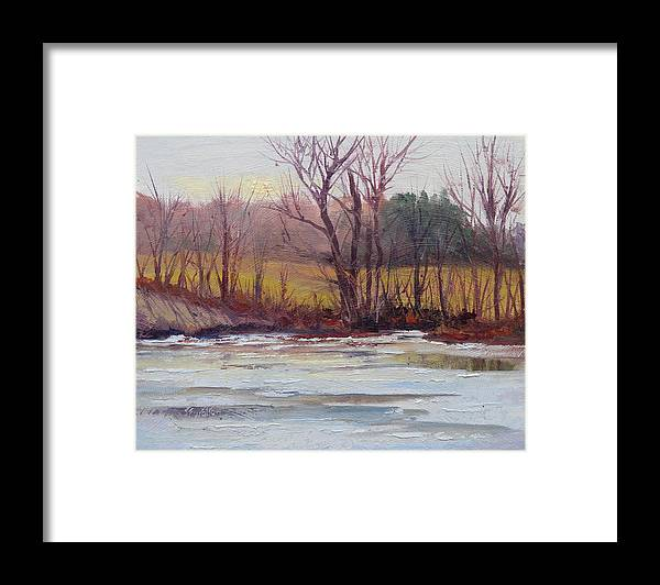 January Thaw Framed Print featuring the painting January Thaw by Judy Fischer Walton