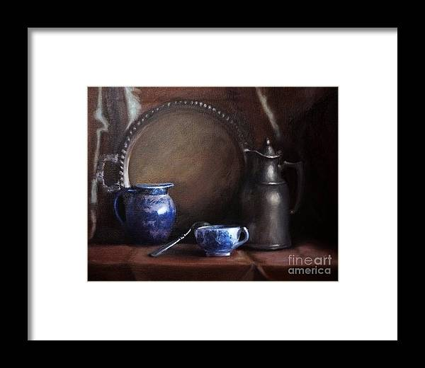 Viktoriamajestic Framed Print featuring the painting Japanese China And Pewter by Viktoria K Majestic