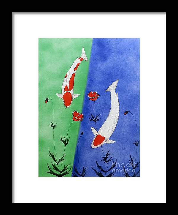 Koi Restaurant Framed Print featuring the painting Japanese Koi Kohaku And Tancho  by Gordon Lavender