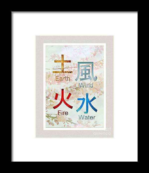 Japanese Symbols Earth Wind Fire Water Framed Print By Elaine Manley