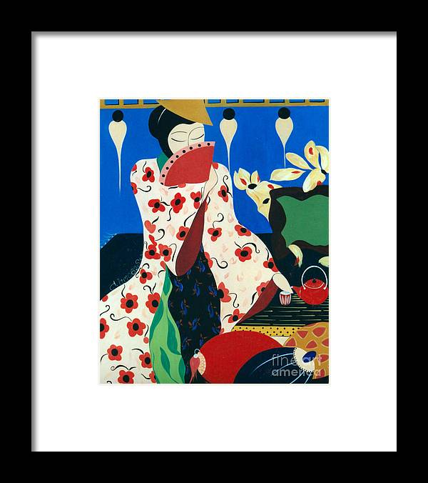 #japanese Framed Print featuring the painting Japanese Tea by Jacquelinemari