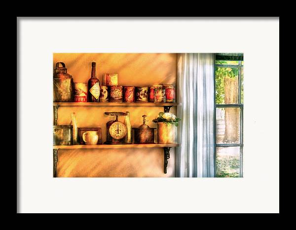 Savad Framed Print featuring the digital art Jars - Kitchen Shelves by Mike Savad