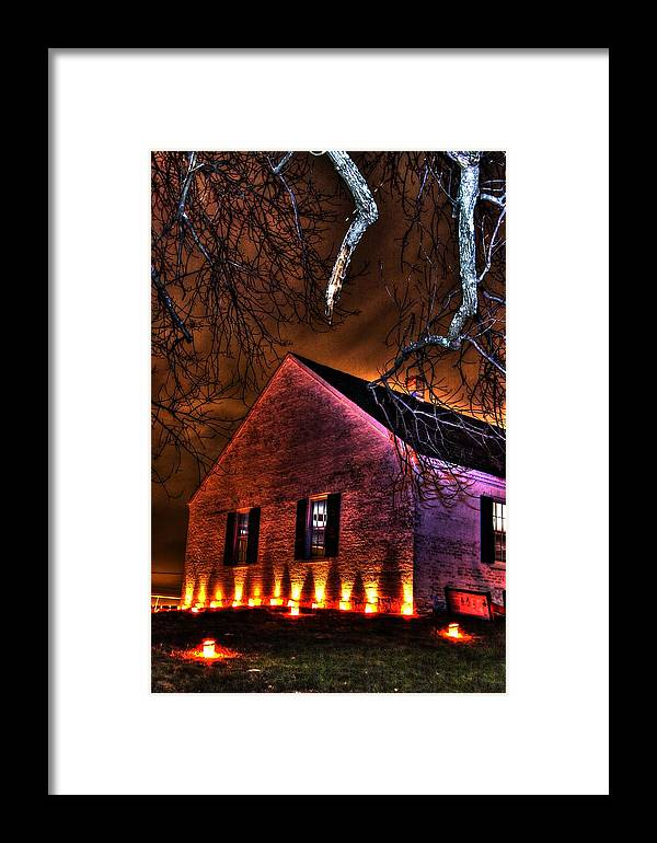 Civil War Framed Print featuring the photograph Jaws Of Death Or Haven Of Rest - The Dunker Church-a1 - Antietam Memorial Illumination by Michael Mazaika