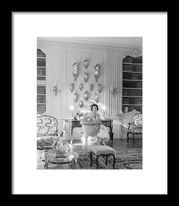 Jayne Wrightsman In Her Library In Palm Beach by Horst P. Horst
