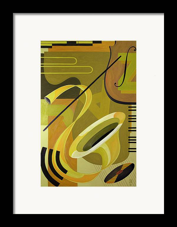 Music Later 20th Century Framed Print featuring the painting Jazz by Carolyn Hubbard-Ford