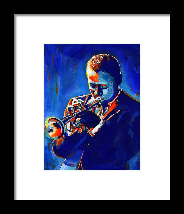 American Framed Print featuring the painting Jazz Man Miles Davis by Vel Verrept
