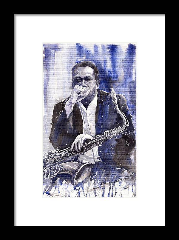 Jazz Framed Print featuring the painting Jazz Saxophonist John Coltrane Blue by Yuriy Shevchuk