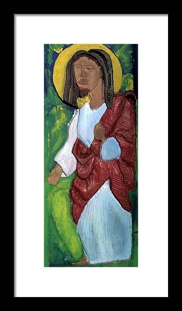 Framed Print featuring the painting J.b.j. The Christ Like Me by Kalikata MBula