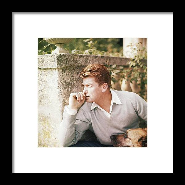 Outdoors Framed Print featuring the photograph Jean Marais With A Dog by Horst P. Horst