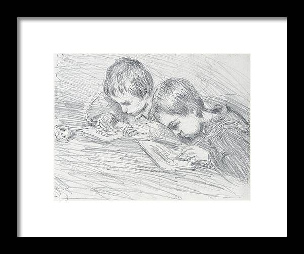 French Framed Print featuring the drawing Jean Pierre Hoschede And Michel Monet by Claude Monet