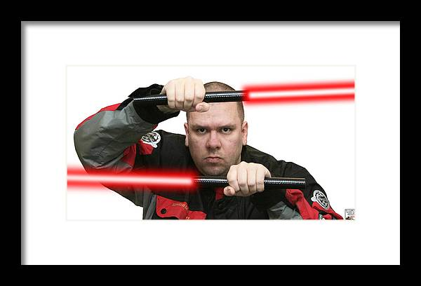 Jedi Master Randall M. Rueff Lightsaber Star Wars Jedi Sith Warrior Knight Laser Sword Framed Print featuring the photograph Jedi Master Randall M. Rueff by Randall M Rueff