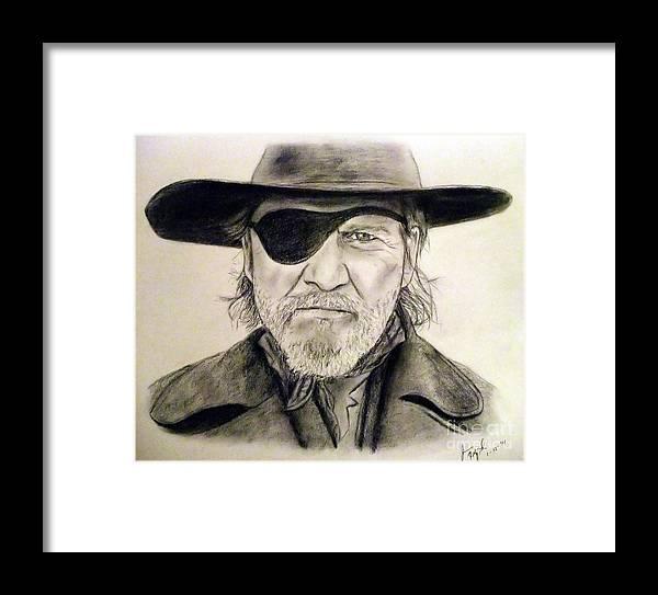 Jeff Bridges Framed Print featuring the drawing Jeff Bridges As U.s. Marshal Rooster Cogburn by Jim Fitzpatrick