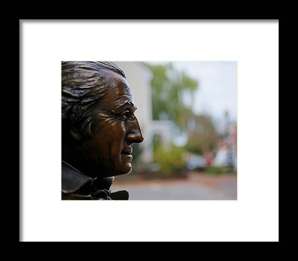 Thomas Jefferson Framed Print featuring the photograph Jefferson In Bronze by Glenn Woodell