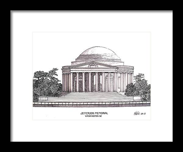 Ink Drawings Framed Print featuring the drawing Jefferson Memorial by Frederic Kohli