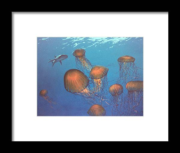 Underwater Framed Print featuring the painting Jellyfish And Mr. Bones by Philip Fleischer