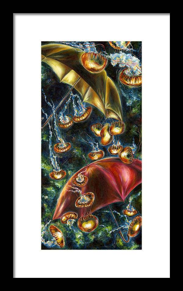 Jellyfish Framed Print featuring the painting Jellyfishy Evening by Hiroko Sakai